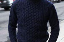 15 beige pants, a navy knit sweater