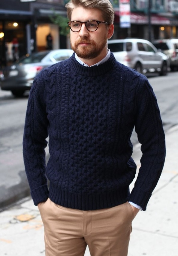 beige pants, a navy knit sweater