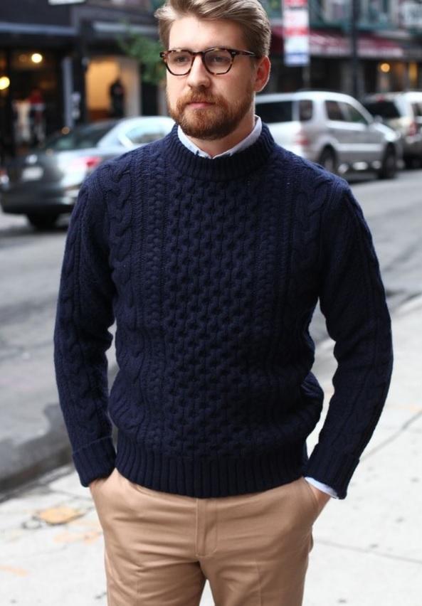 beige pants, a navy knit sweater