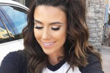 15 half up top knot hair is a popular option for medium and long hair