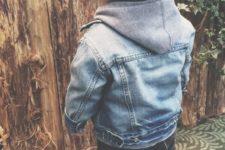 15 jeans, a denim coat and a beanie