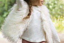 16 a rose quartz button down skirt, a white jersey and a faux fur vest