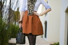 16 an orange skirt, a serenity blue shirt, ivory shoes and a leopard scarf
