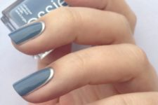16 blue nails with a silver trim look elegant