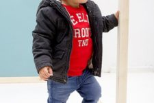 16 jeans, a printed shirt, a puff coat and a beanie