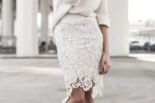 16 off white oversized knit, off white laser cut lace pencil skirt, and rose heels
