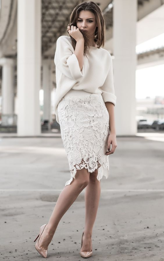 off white oversized knit, off white laser cut lace pencil skirt, and rose heels