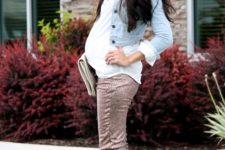 16 rose sequin pants, a white shirt and a denim jacket