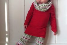 17 Christmas leggings with ruffle bottom, a red shirt, a scarf and a headband