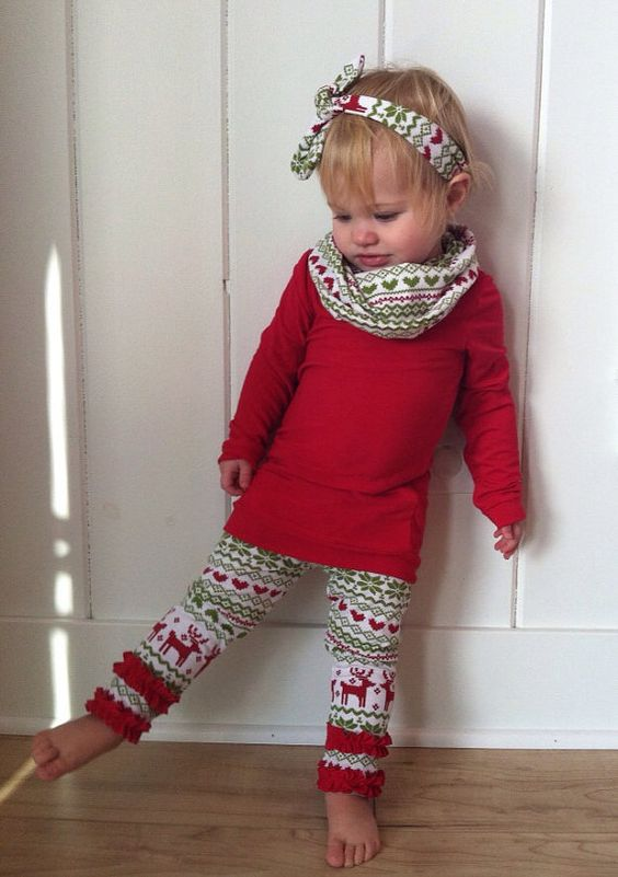 Picture Of Christmas leggings with ruffle bottom a red ...