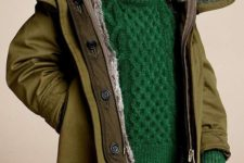 17 black jeans, an emerald sweater, an olive green coat with fur