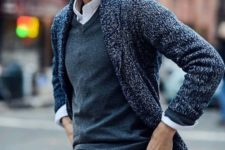 17 jeans, a grey sweater over the shirt, a cardigan for a comfy layered look