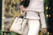17 white pants, an off the shoulder sweater and a neutral bag
