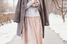 18 a sequin midi, a grey sweater, a coat and shoes