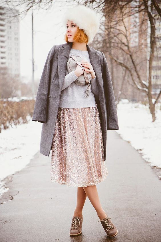 a sequin midi, a grey sweater, a coat and shoes
