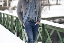18 bleached jeans, a chambray shier, a woolen coat and grey boots