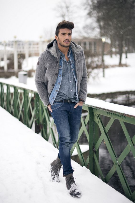 bleached jeans, a chambray shier, a woolen coat and grey boots