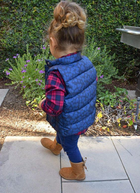 blue jeans, a puff vest, a plaid shirt and suede boots