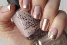 18 blush and gold color block nails