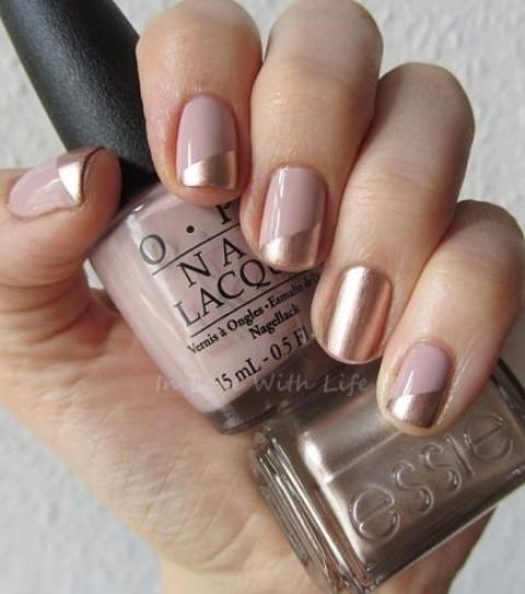 blush and gold color block nails