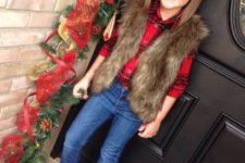 18 jeans, a red plaid shirt, a fur vest and glitter flats
