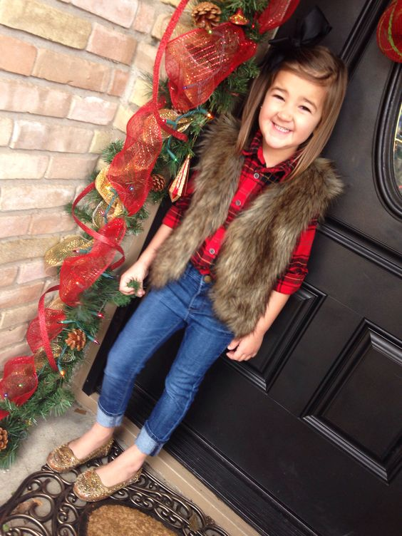 jeans, a red plaid shirt, a fur vest and glitter flats