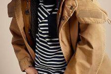 18 jeans, a striped shirt, an ocher parka