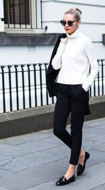 black pants, a white sweater and flats is monochrome classics