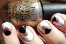 19 chevron nails in black, white and copper