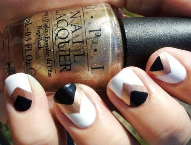 chevron nails in black, white and copper