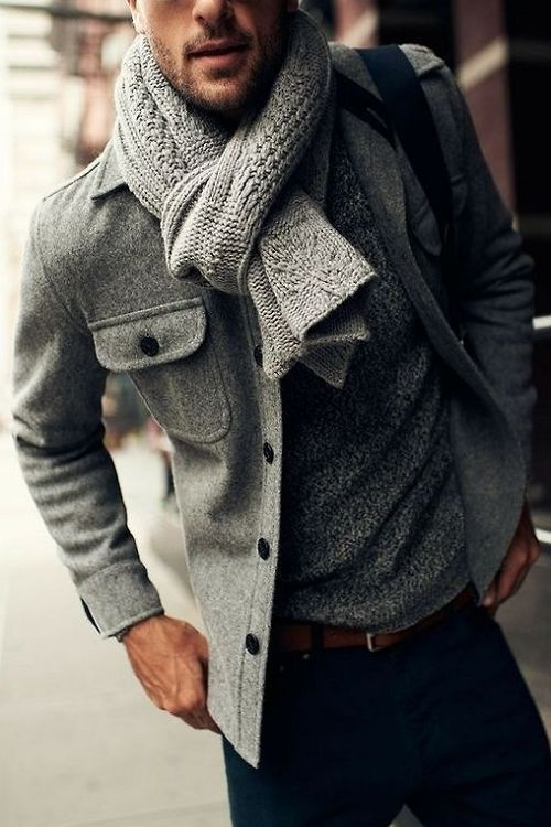 jeans, a grey sweater, a warm grey scarf