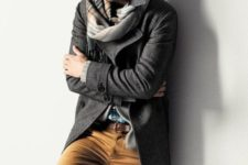 19 ocher pants, a twweed grey coat and a plaid scarf