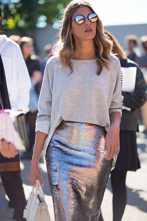 a sparkling midi and an oversized grey sweater