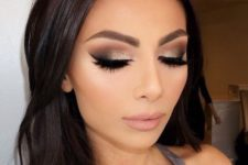 20 purple and shimmer smokey eyes and a nude lip look chic