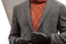 20 tweed pants, a tweed jacket, an orange turtleneck