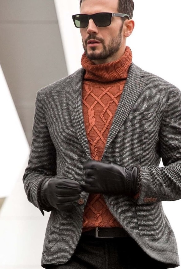 tweed pants, a tweed jacket, an orange turtleneck