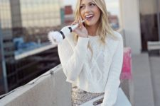 21 a white crop sweater and a sequin midi