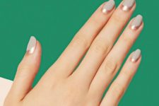 21 matte blush nails with copper touches