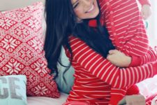 21 same red striped pyjamas for a family look