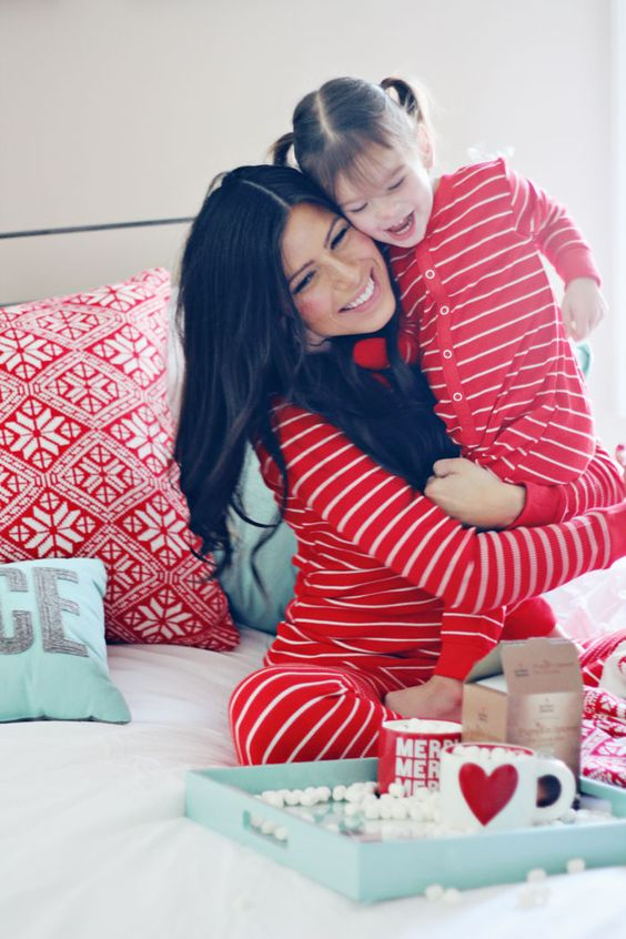 same red striped pyjamas for a family look