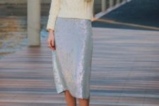 22 a white sequin midi and an ivory turtleneck sweater
