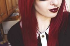 22 darker cherry roots and red hair for a textural look