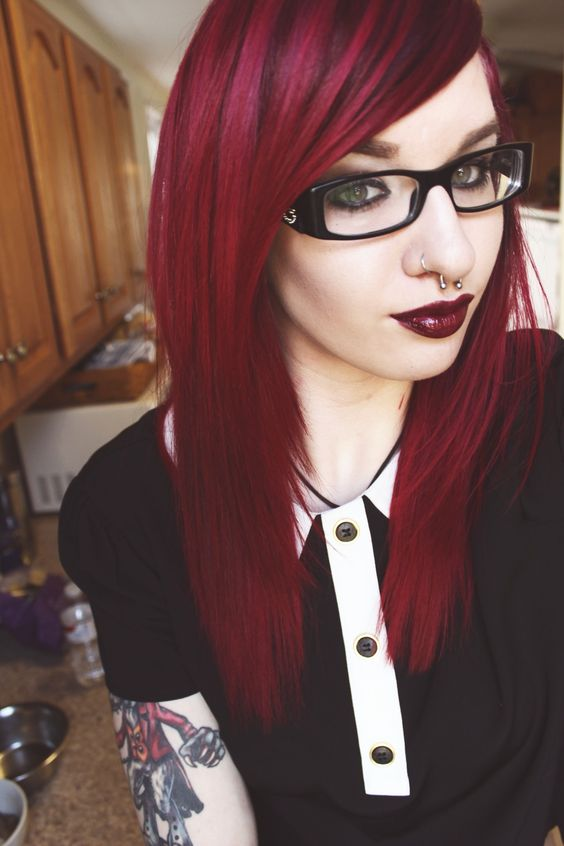 darker cherry roots and red hair for a textural look