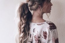 22 messy ponytail with a braid inside for long hair