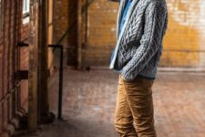 22 ocher pants, a cable knit cardigan and brown boots