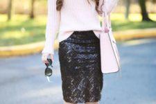 23 black sequin midi, a pink turtleneck sweater