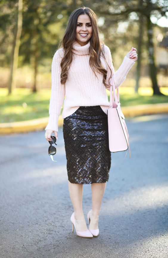 black sequin midi, a pink turtleneck sweater
