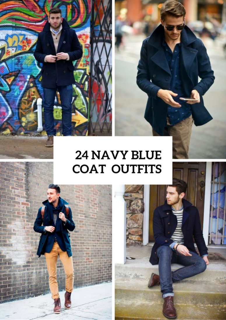 Stunning Navy Blue Coat Outfits For Men