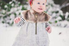 24 woolen leggings, a striped shirt, a cozy dress with faux fur