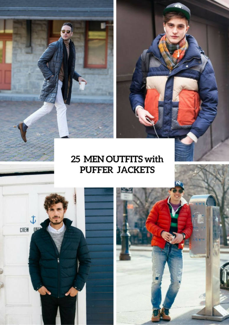 Winter Puffer Jacket Outfits For Men